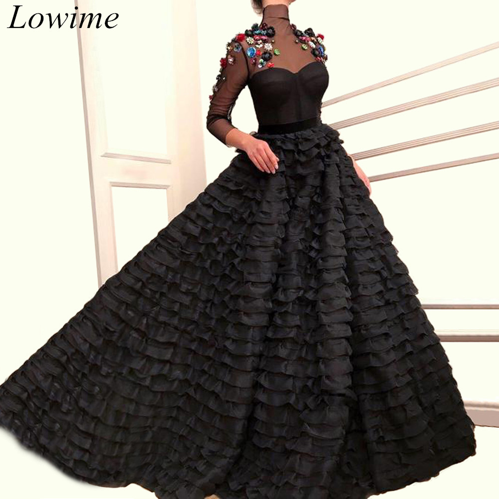 Muslim Black Formal   Prom     Dresses   2019 Long Sheer Neck 3/4 Long Sleeves Evening Party Gowns With Flowers Tiered Arabic Vestidos