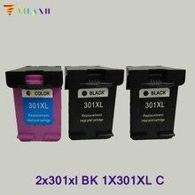 3X Vilaxh compatible 301 xl Ink Cartridge replacement For HP Deskjet 1050 2050 2050s 3050 Envy 4500 4502 4504 5530 5532 5539