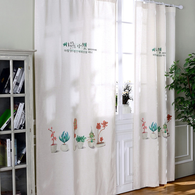 Ready Made Linen Curtains Drapes For Living Room Balcony Window Blinds  Kitchen Short Panel Drapes Country