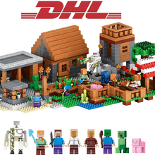 2017 New 1106Pcs LELE Minecraftes My World Figures Village Model Building Kits Blocks Bricks Compatible Toys For Children Gift