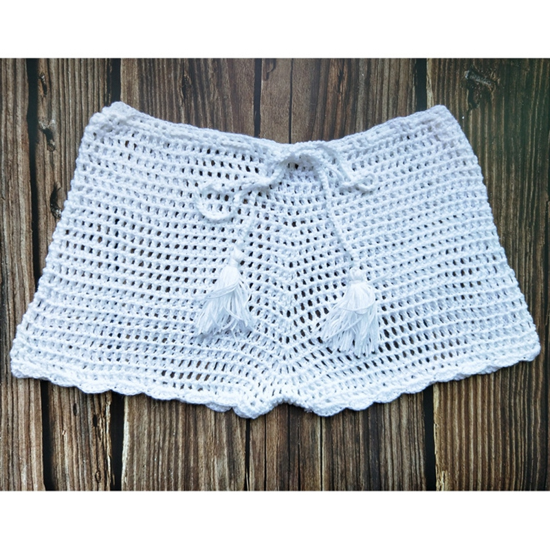 Handmade Crochet Mesh Knit   Shorts   Sexy Hollow Out   Shorts   Women Casual Solid Color   Shorts
