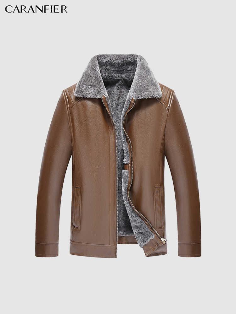 CARANFIER Mens แจ็คเก็ตหนังฤดูหนาว Plus กำมะหยี่เสื้อแจ็คเก็ตรถจักรยานยนต์เสื้อโค้ทขนสัตว์ Parka Classic Zipper Overcoats