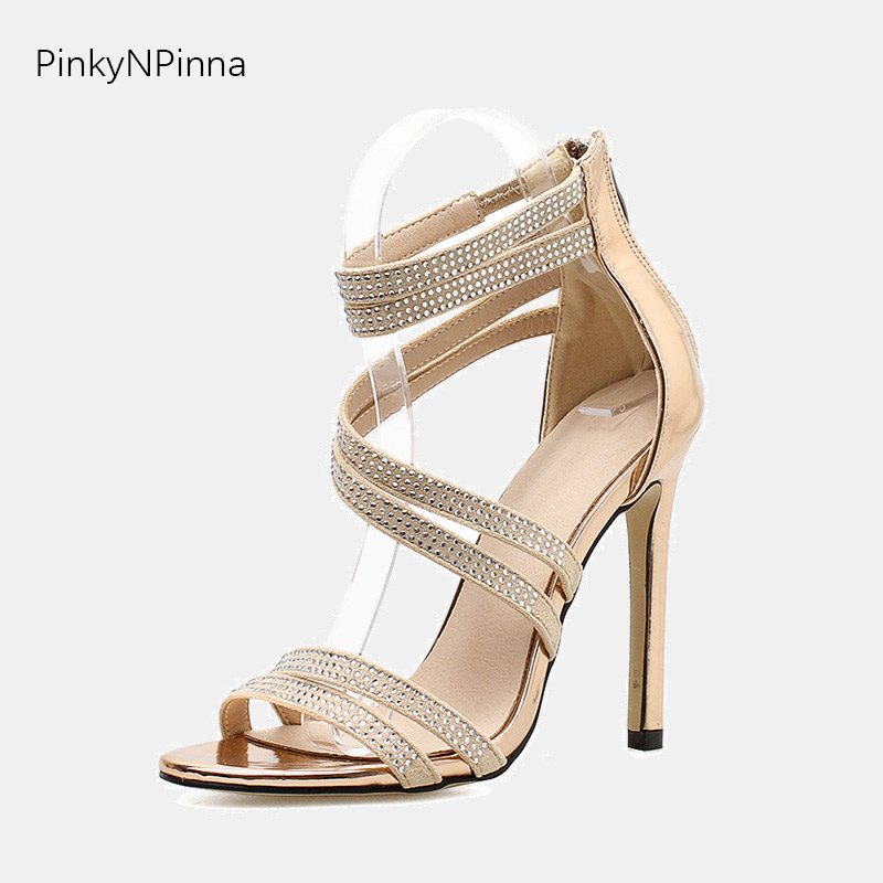 2019 summer women gladiator sandals double crystal straps cross tied high heels golden black wedding party bride dress shoes in High Heels from Shoes