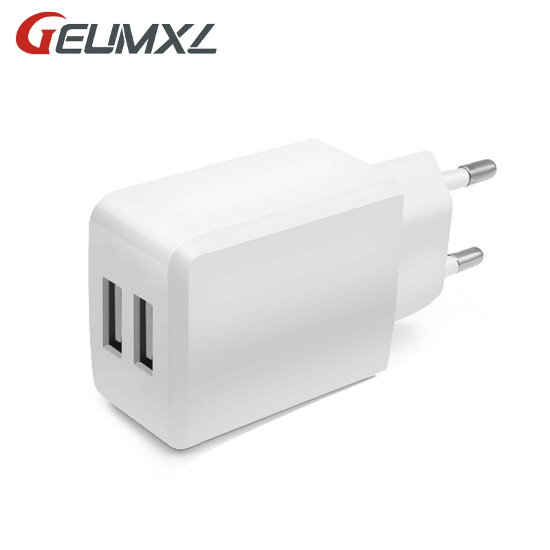 GEUMXL EU/US Plug Dual USB 2.4A Wall Charger 2 Ports Travel Adapter Fast Charge For iPhone Huawei Cell Phone USB Charger