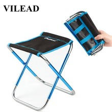 VILEAD 4 Colors Portable Camping Stools Ultralight Folding Chair Aluminium Outdoor Picnic Beach BBQ Fishing Foldable 25*22*27cm