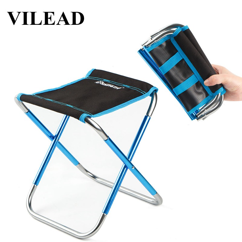 VILEAD Portable Camping Chair Ultralight Folding Aluminium Outdoor Stools For Picnic Beach BBQ Fishing Foldable 25*22*27cm