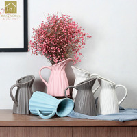 Nordic Milk Jug Vase Decoration Home Creative Ceramic Vase Decoration Ornaments Dried Flower Vase For Home Decor QAB080