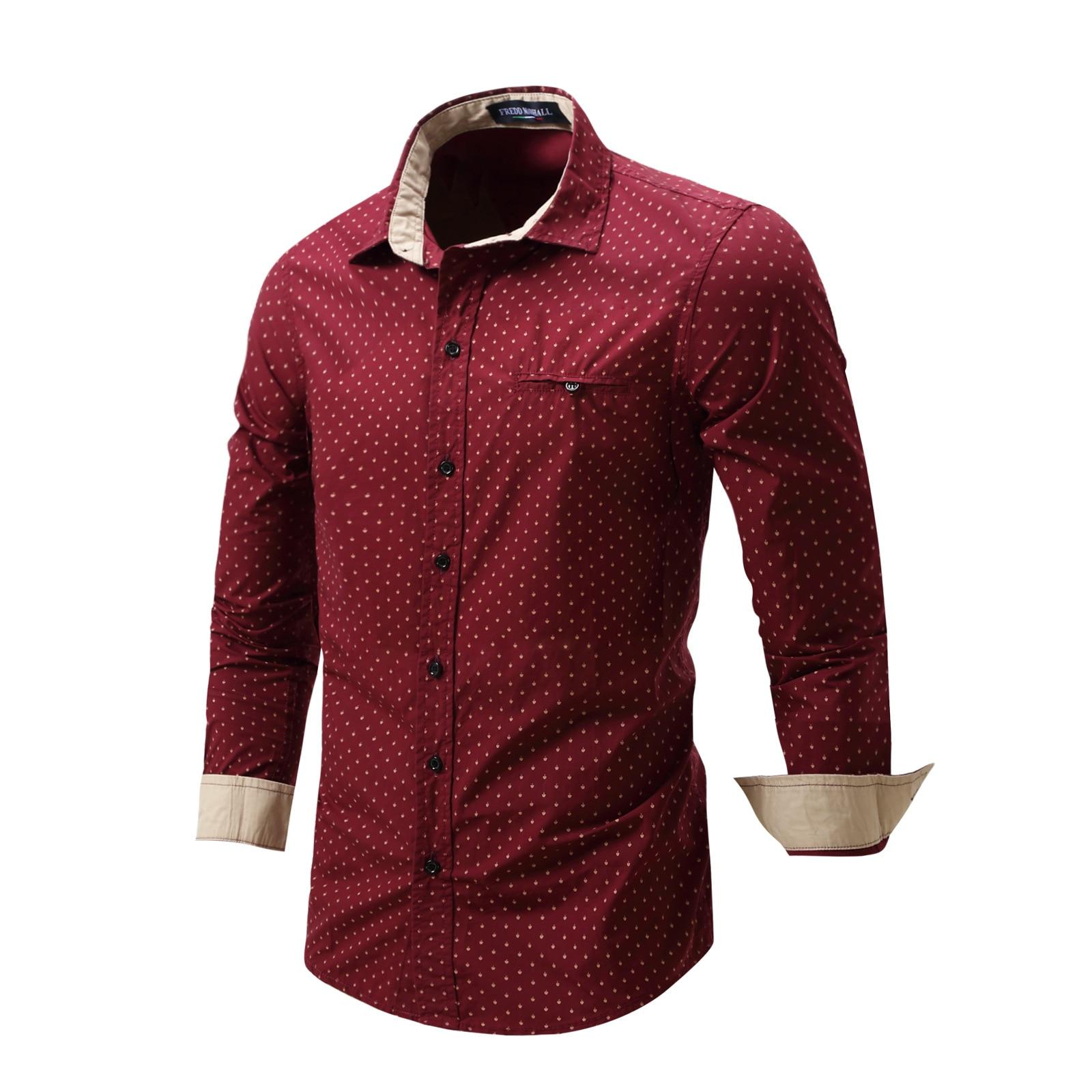 b186a2d822 Moda Hombre Camisa de Vestir de Manga Larga Rojo Bandas Cuello Diseñador  Ocasional de Fácil Cuidado Camisas Sin Cuello Slim Fit Camisa de Vestir  FM0501 en ...