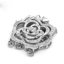 3 Strands Fashion Sterling Silver Micro Pave Zircon Peony Flower Clasp Pearl Jewelry Necklace Pendant Connector Charms SC-CZ033