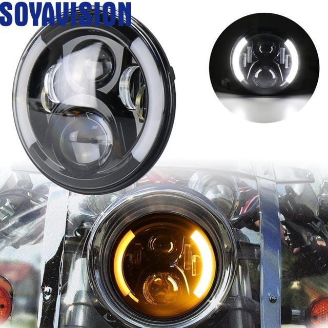 "For Harley Bobber Dyna Honda Suzuki Yamaha Cafe Racer Faro Moto 7"" Motorcycle Headlights Turn Signal Amber Lights Lamp"