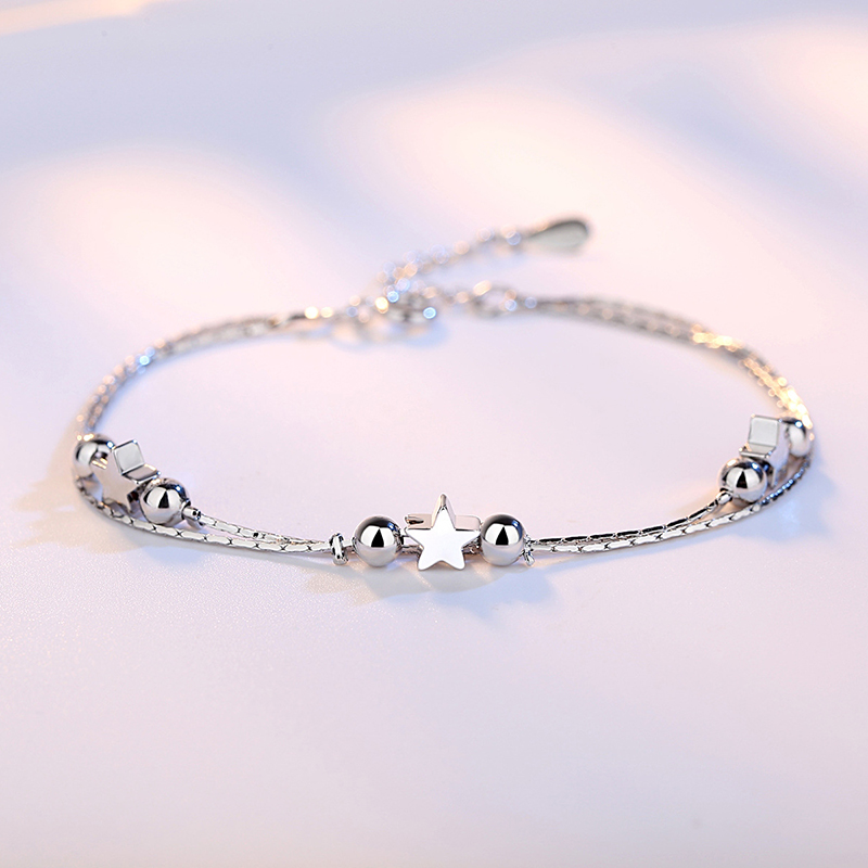 TN99 Real 925 Sterling Silver Star Heart Bracelets & Bangles for Women Jewelry Two Layer Chain Link BraceletTN99 Real 925 Sterling Silver Star Heart Bracelets & Bangles for Women Jewelry Two Layer Chain Link Bracelet