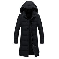 free shipping 2017 New Clothing Jackets Business Long Thick Winter Coat Men Solid Parka Fashion Overcoat Outerwear Hooded Black
