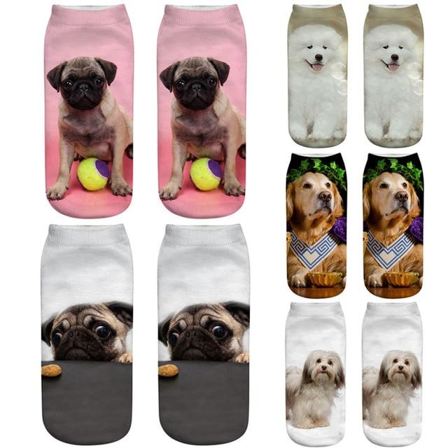 Dreamlikelin 3d Cute Dogs Printing 1 Pair Woman Men Socks Fashion
