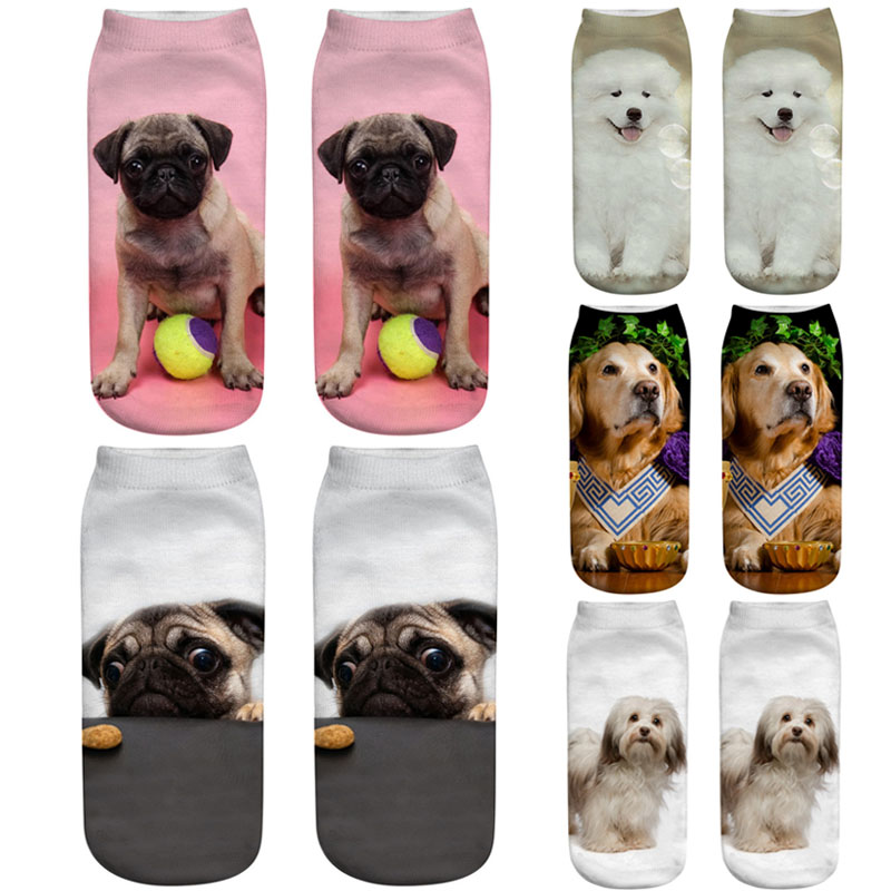 Dreamlikelin 3D Cute Dogs Printing 1 Pair Woman Men   Socks   Fashion Husky Labrador Golden Retriever Cotton Polyester Ankle   Socks