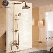 """アンティーク真鍮シャワー風呂の蛇口セット壁掛け露出8 """"降雨シャワーミキサーでスライディングソープディッシュ/handshower"""