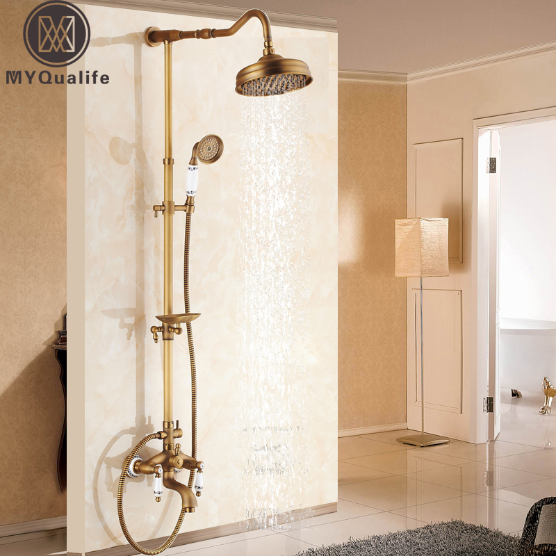 Antique Brass Shower Bath Faucet Sets Wall Mounted EXposed 8 Rainfall Shower Mixers with Sliding Soap Dish / Handshower shower faucet wall mounted antique brass bath tap swivel tub filler ceramic style lift sliding bar with soap dish mixer hj 67040