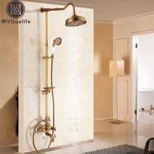 Antique Brass Shower Bath Faucet Sets Wall Mounted EXposed 8″ Rainfall Shower Mixers with Sliding Soap Dish / Handshower