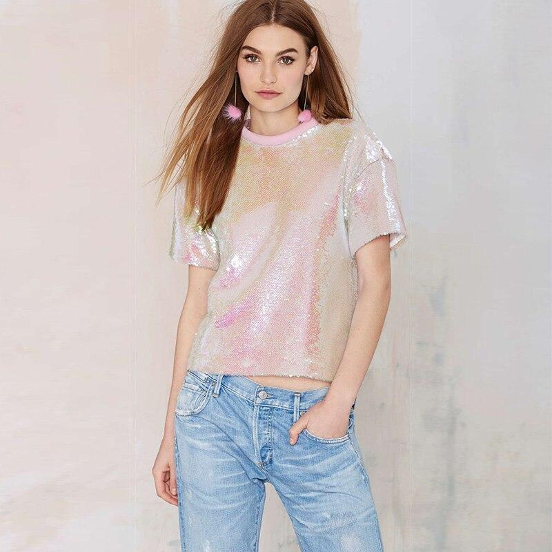 2016 Sweet pink paillette <font><b>top</b></font> <font><b>rib</b></font> <font><b>knitting</b></font> neckline fashion all-match loose <font><b>short-sleeve</b></font> t-shirt female free shipping