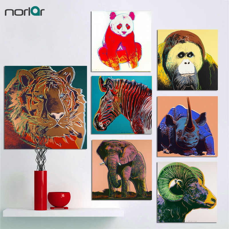 bfd6537ec18e1 Wall Art Pop Art Andy Warhol Rhinos Eagle Tiger Ram Endangered Animal  Canvas Poster Canvas Oil
