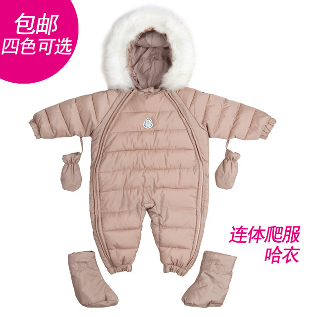 Free shipping Infant clothes romper baby down coat autumn and winter set ski suit winter thick baby bodysuit