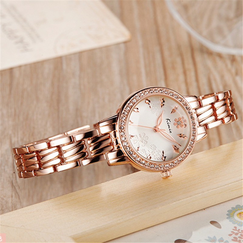 Women Bracelet Watch KIMIO Luxury Brand Fashion Dress Lady Wristwatch Quartz-watch Pink Dial Watches Female Clock with Gift Box kimio new fashion leather strap women quartz casual bracelet watch clock female ladies girl dress wristwatch relogio and box