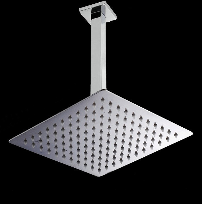 2016 Wholesale New 8/10/12 Inch Square Style Ultra Top Shower Sus Stainless Steel Ceiling Overhead Rain Shower With Arm 12 inch shower head with arm 300 300 stainless steel head shower with ceiling shower arm top water saving rain shower