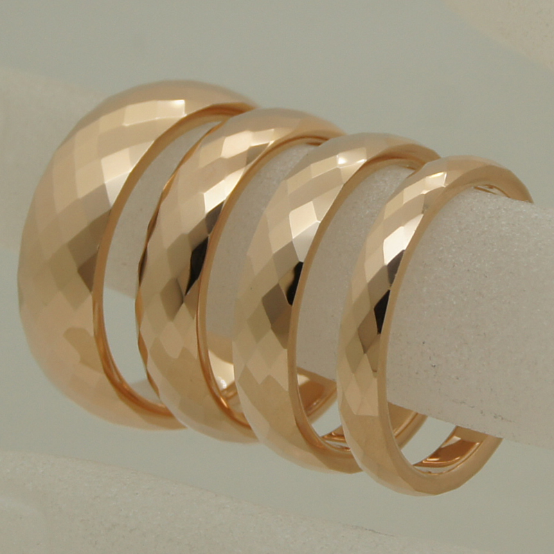 3mm width rare women/girl rose gold plating multi facet tungsten ring - Fashion Jewelry - Photo 4