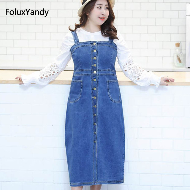 812c16fa5a1 US $32.89 10% OFF|Denim Overalls Dress Women Plus Size 3 4 XL Slim  Sleeveless Summer Suspenders Pencil Dress Blue Midi Vestidos YNWE17-in  Dresses from ...