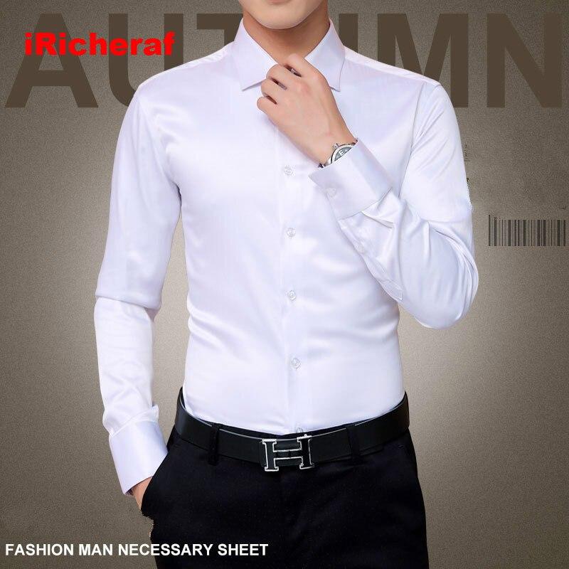 LiebenswüRdig Iricheraf 2019 Männer Shirts Langarm Koreanische Smoking Hemd England Stil Solide Polyester Faser Weiß Blau Wein Rot Plus Größe 5xl