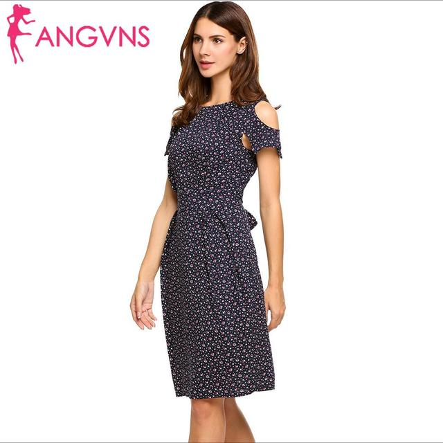 ANGVNS Women Vintage Summer Dress Top Rufflles Cold Shoulder Short Sleeve Floral Print Casual Dress with Belt Beach Dress