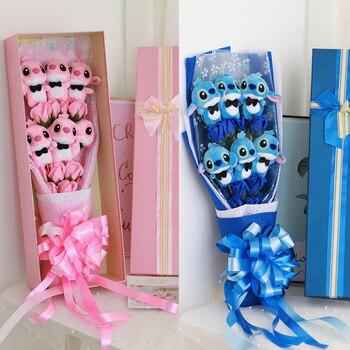 Buatan Kartun Mainan Mewah Pernikahan Stitch Buket Kawaii Kering Hari Valentine 'S Mariage Dekorasi untuk Karangan Bunga