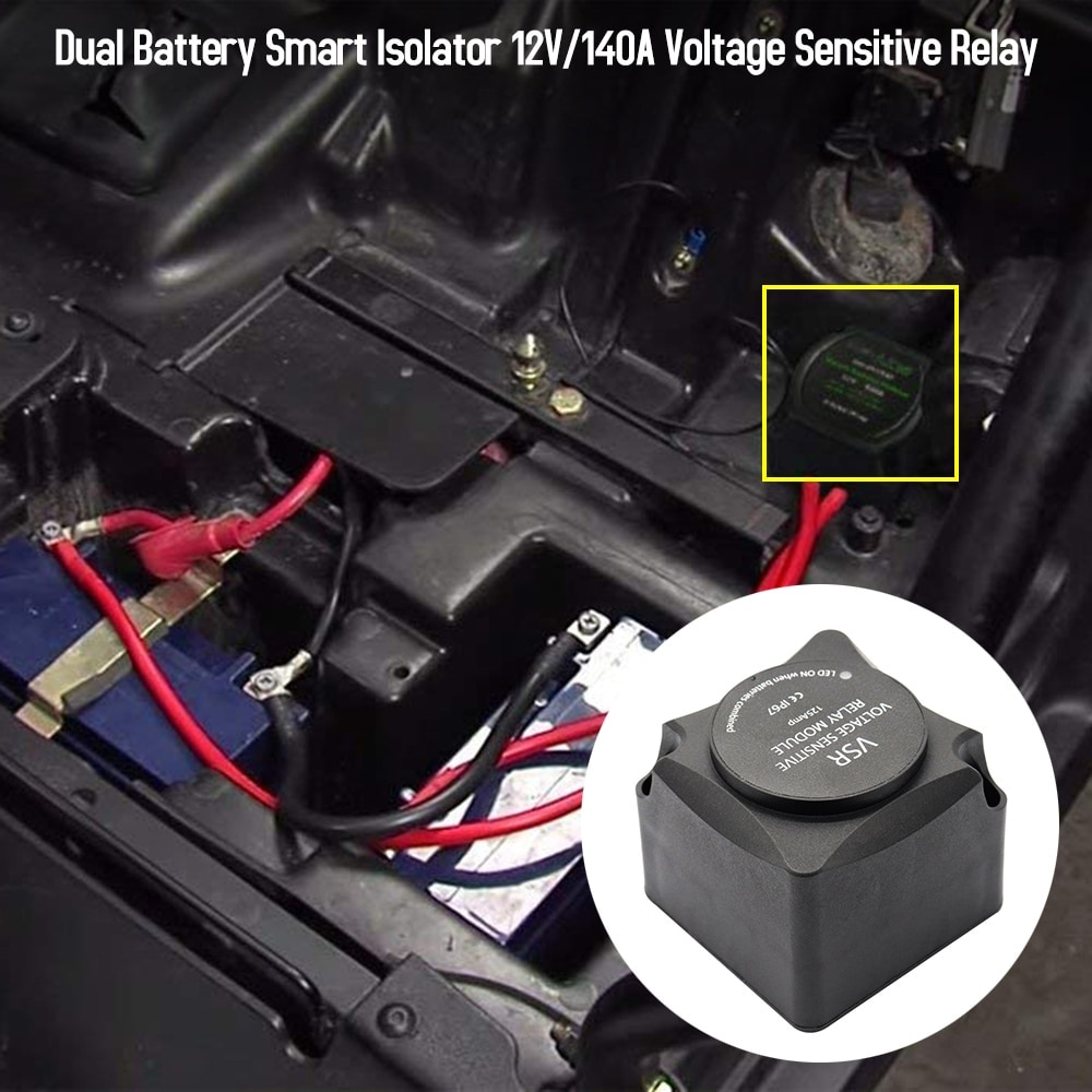 Relais de charge automatique relais sensible à la tension double batterie isolateur intelligent 12 V/140A (VSR) avec Kit de câblage par chargeurs KeyLine