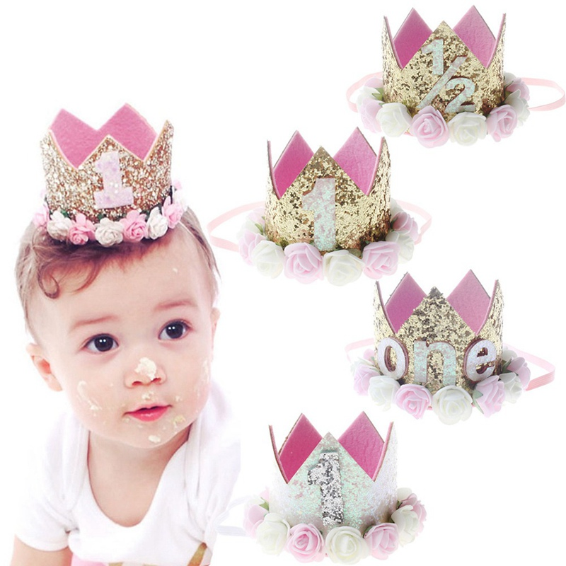 2018 Flower Crown Newborn Headband Gold Birthday Crown Flower Tiara Headband for Kids Party Headwear Hair Bands Accessories Gift