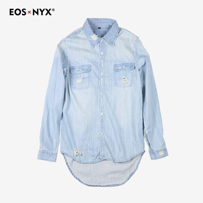 Eosnyx men shirt streetwear camisa masculina social hombre chemise homme manche longue justin bieber casual Ripped denim shirt
