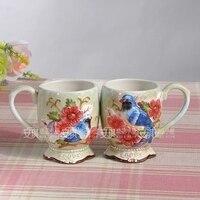 Drinkware Ceramic mug cup of Peach Blossom Fan kiss knot wedding gift Free shipping