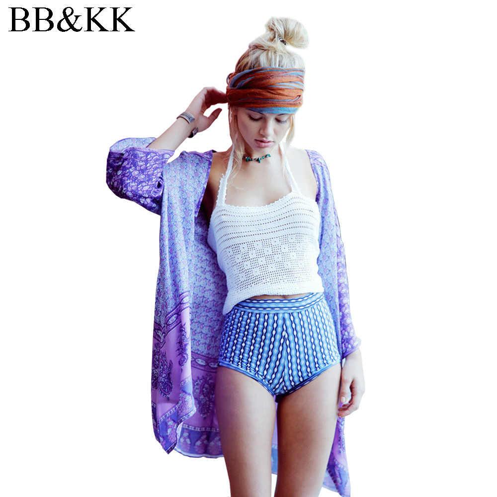 夏のスタイルの女性 3 分袖ファッションオープンフロントカーディガンブラウスヴィンテージ着物