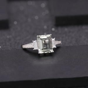 Image 3 - GEMS BALLET 925 ensemble de bijoux en argent Sterling pour les femmes naturel octogone vert améthyste boucles doreilles anneau pendentif ensemble de beaux bijoux
