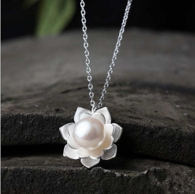 925 sterling silver lotus flowers necklace pearl jewelry 925 925 sterling silver lotus flowers necklace pearl jewelry 925 sterling silver collares kolye necklaces aloadofball Choice Image