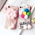 Moda bolas de pelúcia casos de telefone para o caso apple iphone 6 5 6 6 s 7 Mais ROSA Multicolor Flores Capa TPU capa de Pelúcia Inverno quente