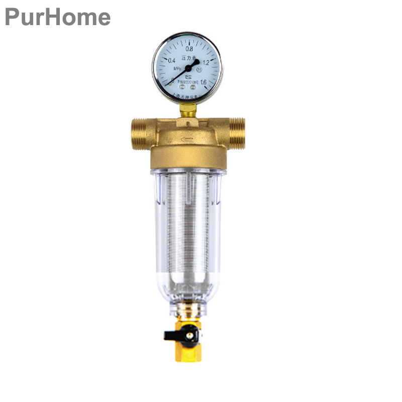 цена на 1/2 Inch 3/4 Inch Copper Water Pre-Filter Port Cleaner Pressure Table Household Filter Pipes Central Water Purifier Descaling
