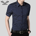 Men Shirt 2017 Summer New Arrival Fashion Camicia Uomo Plaid Short Sleeve Casual Slim Fitness Cotton Male Dress Shirts 5XL N201