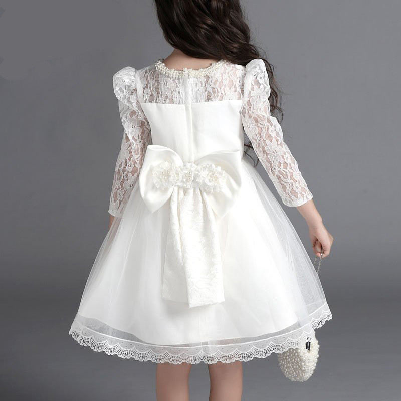 white lace floral baby girl dress wedding long sleeve