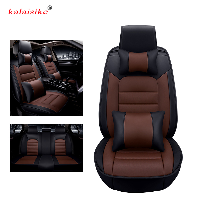 Kalaisike leather Universal Car Seat covers for Chevrolet all models captiva cruze lacetti spark lanos sonic car accessories front rear set luxury leather car seat cover accessories styling for chevrolet lanos carlo spark sonic malibu monte metro