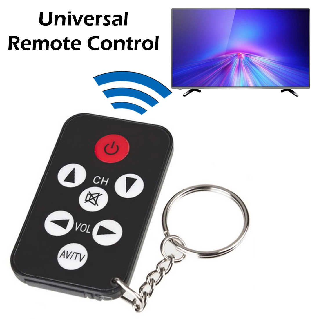 Mini Universal Ultra-thin Infrared IR TV Set 7 Keys Television Remote Control Controller Keychain for Sony Panasonic Toshiba LO