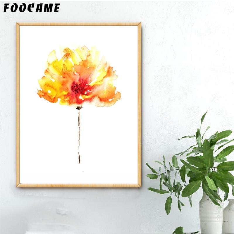 FOOKAME Akvarel bitkisi Çiçək Qırmızı sarı plakatlar və Çap - Ev dekoru - Fotoqrafiya 6