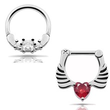 316L Stainless Steel Septum Clicker Hinged Wings Heart+Square Clear CZ Nose Ring Red Gauges free shipping Nose Piercing