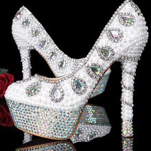 Bridal Dress Shoes elegant women fashion crystal pearl high heel wedding shoes for bride sexy party dress shoes for Autumn