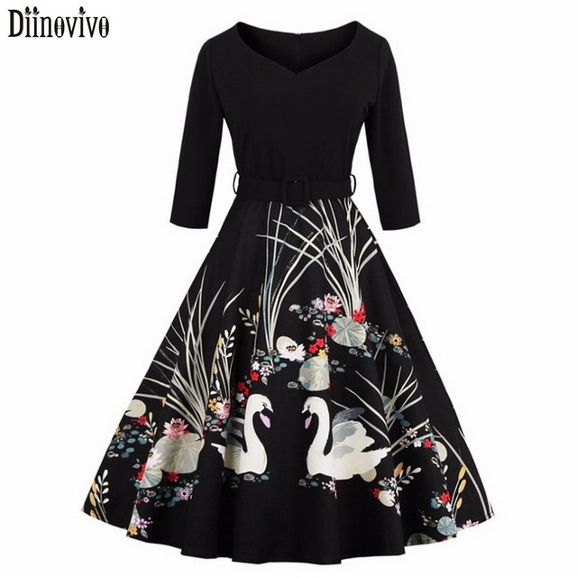 S-4XL New arrival Audrey Hepburn Style Vintage V-Neck 3/4 Sleeve Swan Printed Dress Black Red Women Casual Dresses Vestidos 364