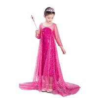 VOGUEON Girls Princess Party Dress Kids Blue Rose Elsa Cinderella Cosplay Costume Kids Summer Sequined Ball Gown with Long Train