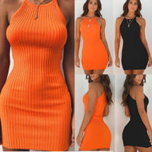 Women Sexy Summer Sleeveless Tank Solid Prom Evening Party Slim Mini Short Knitted Bodycon SunDress